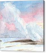 Old Faithful Sunrise Watercolor Painting Canvas Print