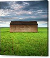Old Farm Shed In Green Wheat Field Canvas Print