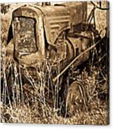 Old Farm Tractor In Sepia 1 Canvas Print