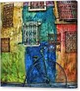 Old Fashion Bike And Blue Wall Canvas Print