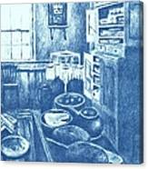 Old Fashioned Kitchen In Blue Canvas Print