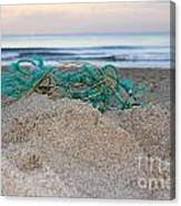 Old Fishing Net On Beach Canvas Print