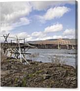 Old Fishing Platform By The Dalles Bridge Canvas Print