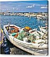 Old Fishing Wooden Boat With Nets Canvas Print