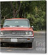 Old Ford Galaxy In The Rain Canvas Print