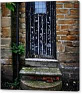 Old Forgotten Black Front Door Canvas Print