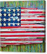 Old Glory In Wood Impression Canvas Print