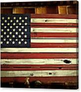 Old Glory In Wood Canvas Print