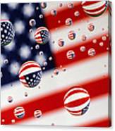 Old Glory Water Drops Canvas Print