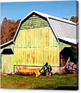 Old Green Barn South Of Rosman Canvas Print