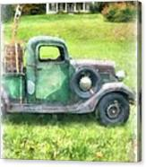 Old Green Pickup Truck Canvas Print