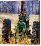 Old Green Tractor On The Farm Canvas Print