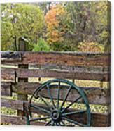 Old Green Wagon Wheel Canvas Print