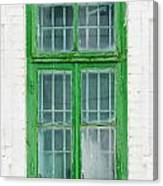 Old Green Wooden Window Canvas Print