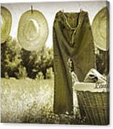 Old Grunge Photo Of Jeans And Straw Hats  Canvas Print