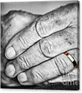 Old Hands With Wedding Band Canvas Print