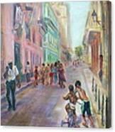 Old Havana Street Life - Sale - Large Scenic Cityscape Painting Canvas Print