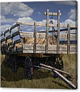 Old Hay Wagon In The Prairie Grass Canvas Print