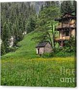 Old House On The Green Field Canvas Print