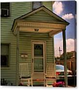 Old Houses - New Jersey - In The Oranges - Green House With Flower Pots And Rocking Chairs - Color Canvas Print