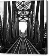 Old Huron River Rxr Bridge Black And White  Canvas Print