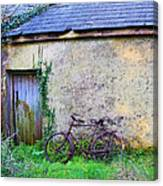 Old Irish Cottage With Bike By The Door Canvas Print