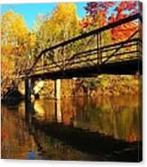 Historic Harvey Bridge Over Manistee River In Wexford County Michigan Canvas Print