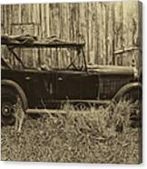Old Jalopy Behind The Barn Canvas Print