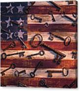 Old Keys On American Flag Canvas Print