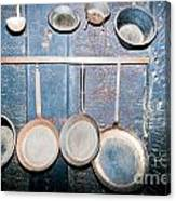 Old Kitchen Utensils On Soot-black Wall Canvas Print