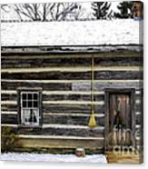 Old Log Home With A Broom Canvas Print