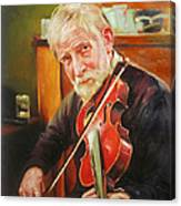 Old Man And Fiddle Canvas Print