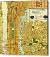Old Map Of New York Central Railroad Manhattan Map 1918 Canvas Print