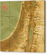 Old Map Of The Holy Land Canvas Print