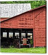 Old Massey Ferguson Red Tractor In Barn Canvas Print