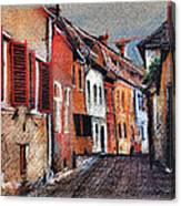 Old Medieval Street In Sighisoara Citadel Romania Canvas Print