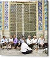Old Men Socializing In Yazd Iran Canvas Print