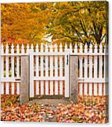 Old New England White Picket Fence Canvas Print