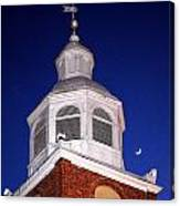 Old Otterbein Umc Moon And Bell Tower Canvas Print