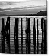 Old Pilings On Puget Sound - Tacoma - Washington - August 2013 Canvas Print