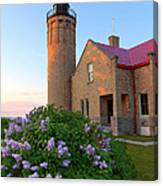 Old Point Mackinac Lighthouse And Lilacs Canvas Print