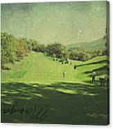 Old Postcard Of Golf Buddies At The Homestead Canvas Print