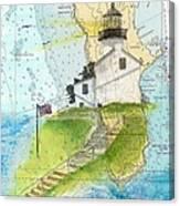 Old Pt Loma Lighthouse Ca Nautical Chart Map Art Cathy Peek Canvas Print