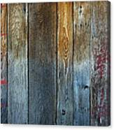 Old Reclaimed Wood - Rustic Red Painted Wall  Canvas Print