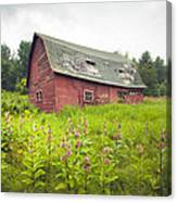 Old Red Barn In A Field - Rustic Landscapes Canvas Print