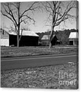Old Red Barn In Black And White Canvas Print
