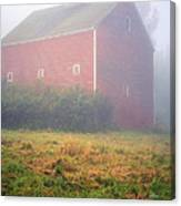 Old Red Barn In Fog Canvas Print