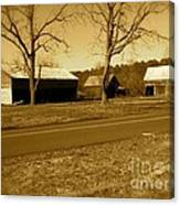Old Red Barn In Sepia Canvas Print