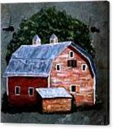 Old Red Barn On Slate Canvas Print