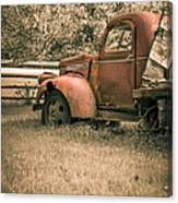 Old Red Farm Truck Canvas Print